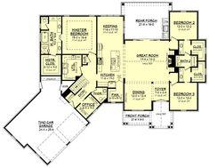 Farmhouse Style House Plan - 3 Beds 2.50 Baths 2534 Sq/Ft Plan #430-166 Floor Plan - Main Floor Plan - Houseplans.com