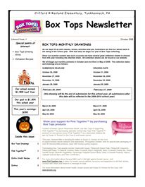 Box Tops Newsletter by sofiaie Pta School, School Events, School Counseling, School Days, School Stuff, School Donations, School Fundraisers, Box Tops Contest, Family Engagement