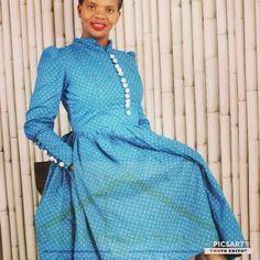 African Shweshwe dress with modern sophistication. Beautigully tailored dress. Timeless design