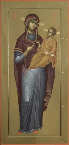 A Hodigitria [She who shows the way] Icon of the Theotokos / Bizantes Mother Of Christ, Mother Mary, Byzantine Icons, Byzantine Art, Religious Icons, Religious Art, Writing Icon, Orthodox Catholic, Christ Pantocrator