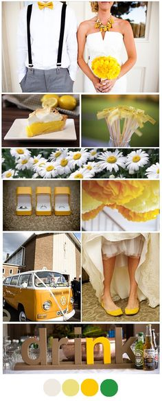 Loving on yellow and gray wedding themes.
