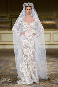 berta fall 2016 bridal gowns gorgeous long sleeves finale sheath wedding dress intricate lace embroidery throughout v neckline