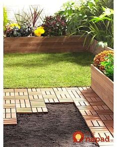 Easy-to-Install Hardwood Decking Tiles Backyard Patio Designs, Backyard Projects, Backyard Landscaping, Hardwood Decking, Patio Flooring, Ikea Outdoor Flooring, Ikea Patio, Diy Deck, Backyard Makeover