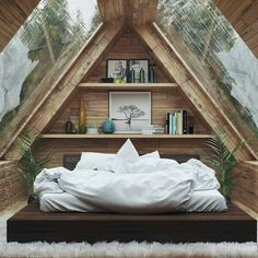 Home Interior Design — Beautiful Bedroom - design modern small tiny house Tiny House Cabin, Tiny House Design, Cabin Homes, Contener House, Tiny Cabins, Attic Bedroom Designs, Attic Bedroom Small, A Frame Bedroom, Tiny House Bedroom