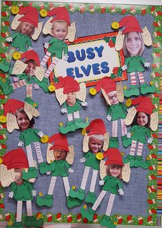 Students and teachers created this bulletin board using Katie Mense's Elf Yourself from Teachers Pay Teachers. #HolidayClassroomBulletinBoard