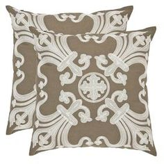 Bring country-chic style to your home with this charming design, artfully crafted for lasting appeal.   Product: Set of 2 pillowsConstruction Material: 100% CottonColor: KhakiFeatures: Inserts includedCleaning and Care: Dry clean recommended