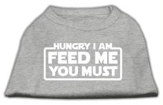 Hungry I am Screen Print Shirt Grey Lg (14)