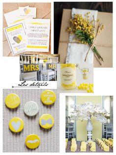 idees-deco-mariage-jaune-faire-part-cadeaux-invites. Wedding Decorations, Table Decorations, Colorful Cakes, Communion, Wedding Cards, Bouquet, Invitations, Decocrush, Party