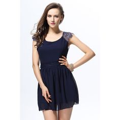Trendy Style Sleeveless Lace Splicing Solid Color Backless Women s... (£9.93) ❤ liked on Polyvore featuring dresses, blue, sleeveless lace dress, blue sleeveless dress, lace dress, blue dress and no sleeve dress