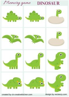 DINOSAUR - #MEMORY GAME alter it to become a yard game using poster board pictures of real dinosaurs.