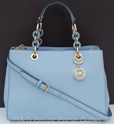 14c4ec4749f92 NWT NEW Michael Kors Saffiano Leather Medium Cynthia NS Satchel Purse ~Pale  Blue  MichaelKors  Satchel