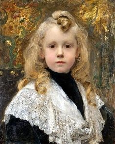 Edgar Maxence (French symbolist painter) 1871 - 1954, Portrait d'Enfant, s.d., oil on canvas, private collection