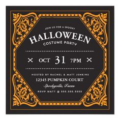 Cute Spooky Halloween Costume Party Invite by Origami Prints