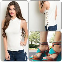 Side Tie/White Crew Top Totally cute and comfortable top! Features side tie and gold accents. 95% Rayon, 5% Spandex (This closet does not trade or use PayPal ) ❌Sorry, shoe pic used for styling only, check Pinterest❌ Top Chic Tops Tank Tops