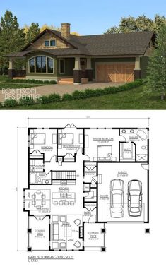 Nice for a smaller home 1733 sq. Ranch House Plans, New House Plans, Dream House Plans, Small House Plans, House Floor Plans, My Dream Home, 3 Bedroom Home Floor Plans, Dream Homes, The Plan