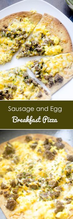 Sausage and Egg Breakfast Pizza - Recipe Diaries #breakfast #pizza #eggs Good Morning Breakfast, Breakfast Pizza, Paleo Breakfast, Breakfast Time, Breakfast Casserole, Breakfast Recipes, Breakfast Ideas, Breakfast Pastries, Brunch Ideas