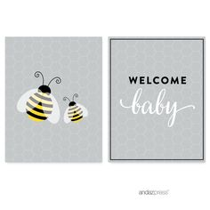 Mama To Bee Bumblebee Gender Neutral Baby Shower Party Signs