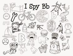 My sons love I Spy games, books, jars, you name it. I created these beginning letter sound I Spy coloring pages for the whole alphabe. Preschool Letters, Preschool Education, Learning Letters, Kindergarten Literacy, Alphabet Activities, Kindergarten Reading, Preschool Learning, Literacy Activities, Language Activities