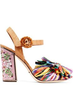 Dolce & Gabbana - Crystal-embellished Raffia Sandals - Pink - IT