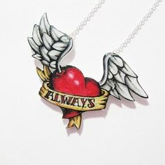 ''Custom'' Winged heart tattoo necklace by Cherryloco Jewellery on Folksy