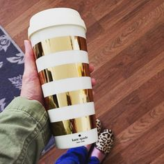 Kate Spade Love - Gold Stripe Coffee Tumbler