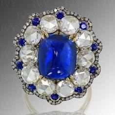Blue Sapphire and Diamonds in IVY gold ring. Sapphire is no heated.  #ivynewyork #gemstonesbook   www.ivynewyork.com