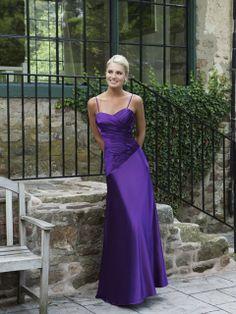 Modern sweetheart dropped waist satin bridesmaid dress