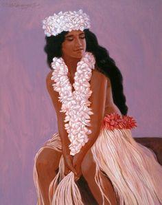Resting Dancer, painting by Herb Kawainui Kāne.