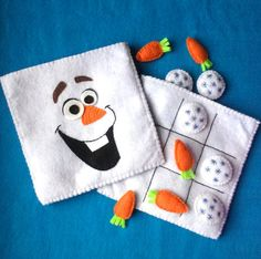 Olaf inspired Felt Tic Tac Toe Travel Playset by CurlyTailCrafts