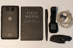EDC - Every Day Carry      Droid MAXX from Motorola   Field Notes 48-Page Black -   Fisher Space Pen, Matte Black -   Pebble Steel, Matte Black   Kershaw 8700BLK Shuffle, Matte Black     Shure SE215-CL, Clear  Editor's Note: This is the first time I have seen an EDC with the Kershaw 8700BLK Shuffle! This lightweight knife has a bottle opener, screwdriver, and lanyard hole for $18.33 w/ Free Shipping.