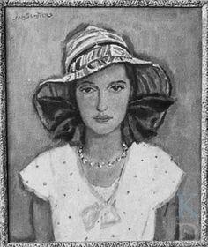 Portret van Lies met Linnen Hoed -  Jan Sluijters