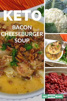 A healthy dinner recipe the whole family will love! Keto bacon cheeseburger soup recipe #ketorecipe #ketodiet Low Carb Vegetarian Recipes, Vegan Breakfast Recipes, Lunch Recipes, Keto Recipes, Dinner Recipes, Cheese Burger Soup Recipes, Easy Soup Recipes, Keto Carbs, Easy Keto Meal Plan