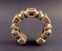 Old metal massive Tuareg tribal bracelet by ethnicadornment