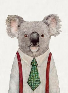 KOALA Art Print, Koala Illustration, Koala portrait, Australian Animals, Koala Bear, Kids Room Decor, Koalas