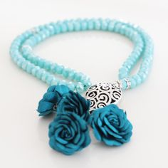 Light Blue Crystal Beads , Turkish Islamic 99 Prayer Beads, Tesbih, Tasbih, Misbaha, Worry Beads, Fabric Roses and Silver Plated Tulip Imame by Vanilleecom on Etsy
