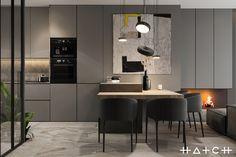 HOUSE IN LODZ,PL on Behance Small Apartment Design, Apartment Interior Design, Interior Exterior, Kitchen Interior, Interior Architecture, Interior Decorating, Beige Kitchen, Grey Kitchen Designs, Modern Kitchen Design