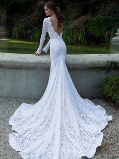White prom dress,Trumpet Mermaid long sleeve Bateau Sweep Brush Train Prom Dress Evening Dress  SP7241