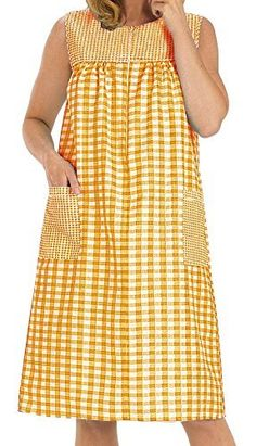 EZI Women's Sleeveless Zipper Gingham Shift House Dress Duster ,XX-LargeF,Orange: This Womens Shift is great for wearing anywhere and the lightweight fabric will keep you comfortable in hot temperatures Dressy Dresses, Linen Dresses, Night Dress For Women, Nightgowns For Women, Kurti Designs Party Wear, Batik Dress, House Dress, Maternity Wear, Blouse Designs