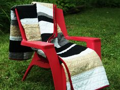 "Unique Quilt Throw Size With Metallic Gold Chevron Red Black and White Fabric Modern Strips -The ""White Stripe"" Quilt  // FREE SHIPPING by QuirkyQuiltress on Etsy https://www.etsy.com/listing/244838182/unique-quilt-throw-size-with-metallic"