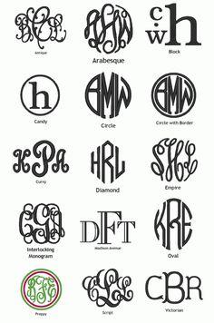 monograms.  Top right.