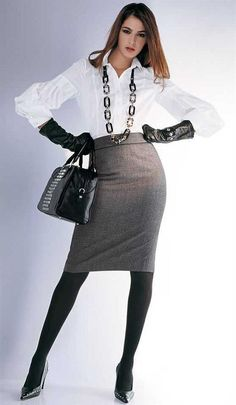Gray Pencil Skirt White Blouse Black Leather Gloves Black Pantyhose and Black High Heels