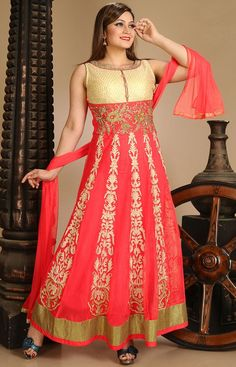 #Red Net #Churidar #Anarkali-Suit with Dupatta - #WEDDING-SALWAR-KAMEEZ