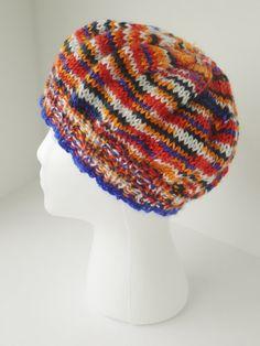 Hand knit tam, hand knit slouch hat, mandarin sunrise hat