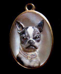RARE Antique INTAGLIO Cameo Boston Terrier Essex Dome by ZeART, $1150.00