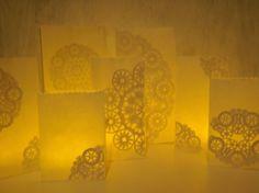 pretty lace paper bag lanterns
