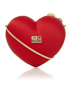 Love Moschino Heart Clutch Bag in Red