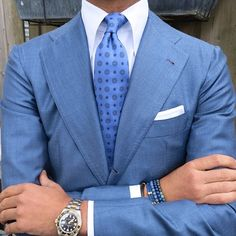 """Ricardo wearing a Viola Milano ""Sea"" silk tie & handrolled white irish linen pocket square…"""