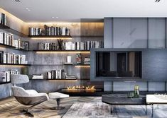 40 private library design #librarydesign Living Room Grey, Interior Design Living Room, Living Room Designs, Living Room Decor, Living Spaces, Estilo Interior, Luxury Interior, Moderne Pools, Muebles Living