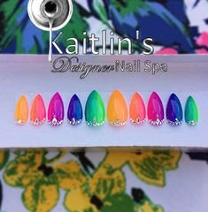 Neon Ombré with Swarovski Embellishments Gel Artificial Nail Art Colourful Acrylic Nails, Acrylic Nail Designs, Dope Nails, My Nails, Nail Tape, Nail Pictures, Glue On Nails, Purple Ombre, Artificial Nails