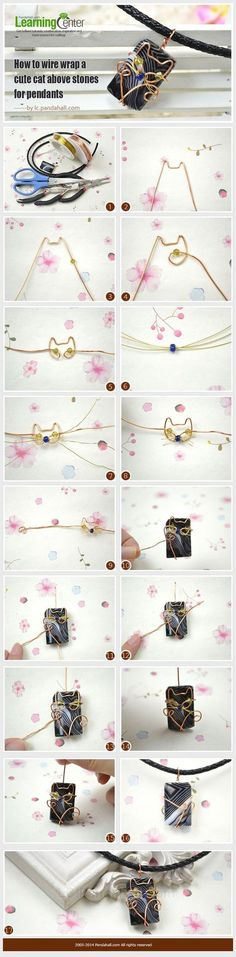 cool DIY Bijoux - How to Wire Wrap a Cute Cat above Stones for Pendants ~ Wire Jewelry Tutorials... #FineJewelrytips